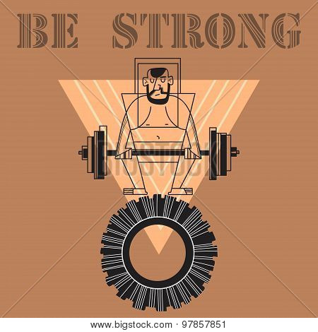 Vector Sport And Fitness Illustration- Motivational Poster Or T-shirt Print -