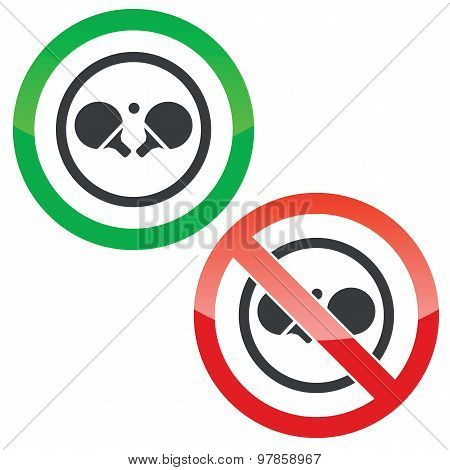 Allowed and forbidden signs with ping pong rackets in circle, isolated on white poster