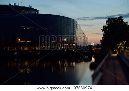 European Parliament Building Reflected In Ill Rive