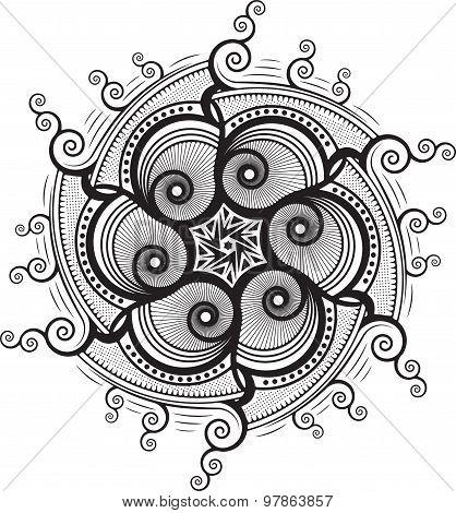 Round Unusual Asymmetrical Decorative Element - Lace Mandala In Zentangle Style. Stylized Vector Flo