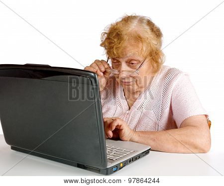 The Old Woman  Looks At The Screen Notebook