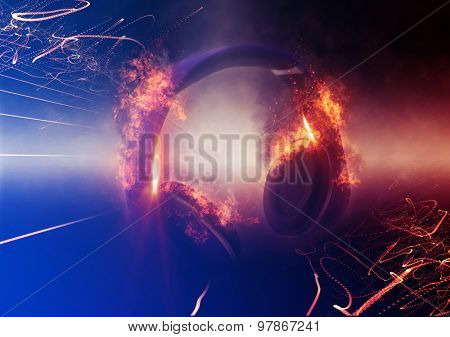 Modern Illuminated Headphones with Fire Effect Dramatically Lit from Side with Small Light Beams. 3d Rendering. poster