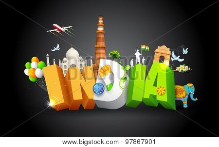 illustration of monument showing colorful culture of India poster