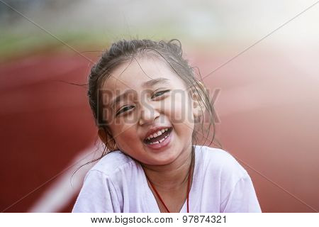 Cheerful Girl In Sports Stadium