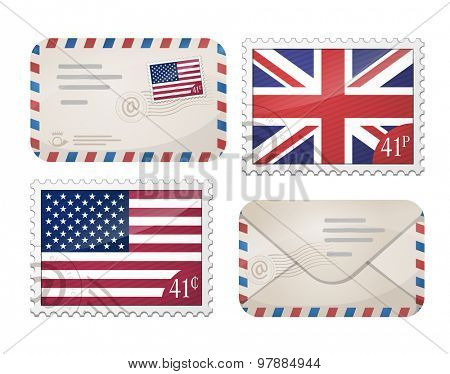 envelopes and stamps - Great Britain and USA flags
