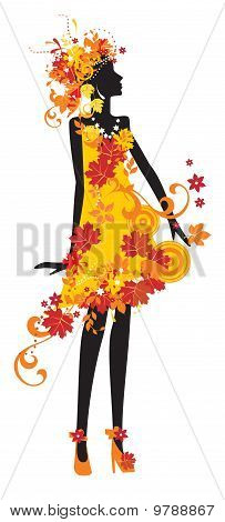 Silhouette Of Woman With Autumn Leaves