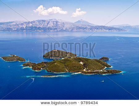 Skorpios island near Lefkada Greece aerial view poster