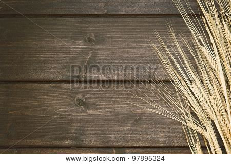 Vintage Photo Of The Barley On The Wooden Desk