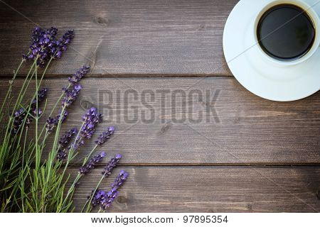 Vintage Photo Of The Lavender And Cup Of Coffee