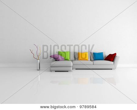 Bright Colored Minimalist Living Room