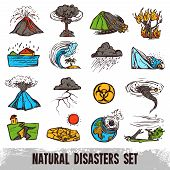 Natural disasters color sketch set with hurricane tornado and tsunami isolated vector illustration poster
