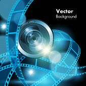 Film strips and camera lens isolated on background. Vector illustration poster
