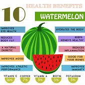 10 Health benefits information of Watermelon. Nutrients infographic vector illustration. - stock vector poster