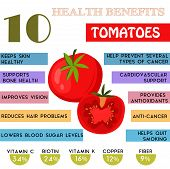 10 Health benefits information of Tomatoes. Nutrients infographic vector illustration. - stock vector poster