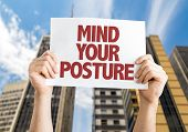 Mind Your Posture card with cityscape background poster