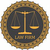 Justice scale icon with caption LAW FIRM poster