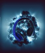 Modern Headphones in front of blue colored explosion. 3d Rendering.  poster