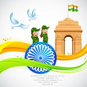 illustration of India Gate and Ashok Chakra with wavy Indian flag poster