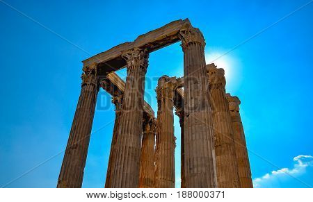iconic pillars of Temple of Olympian Zeus on a spring day Athens historic center Greece Temple of Zeus