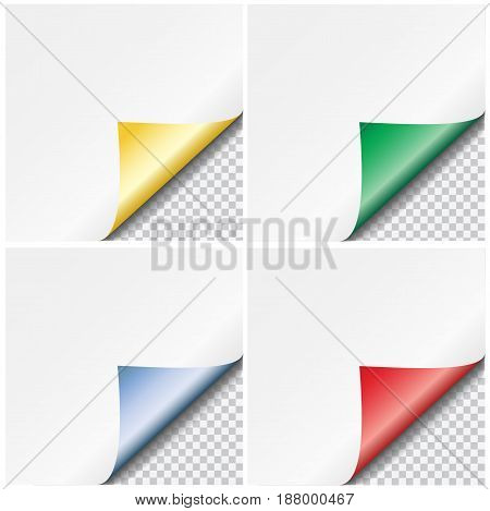 Set of colorful vector paper curled corners isolated on transparent background