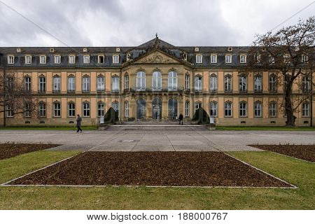 STUTTGART GERMANY - MARCH 01 2017: Das Neues Schloss (New Castle). Palace of the 18th century in baroque style.