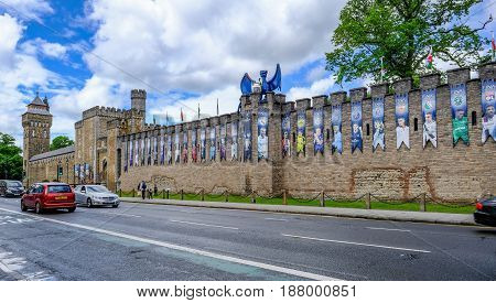 Cardiff Wales - May 20 2017: Cardiff Castle wall wide angle view with UEFA Cup final banners
