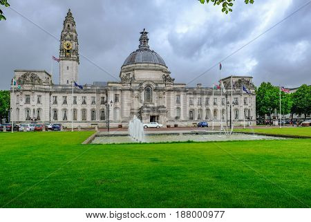 Cardiff Wales - May 20 2017: Cardiff Civic Centre