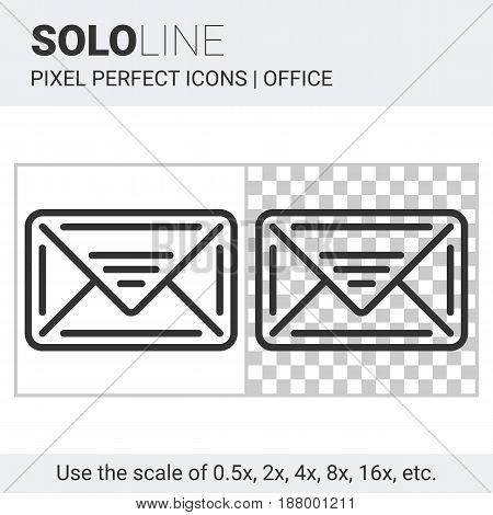Pixel perfect solo line email icon on white and transparent background for responsive web or product design. Designed for use on most web sites and applications