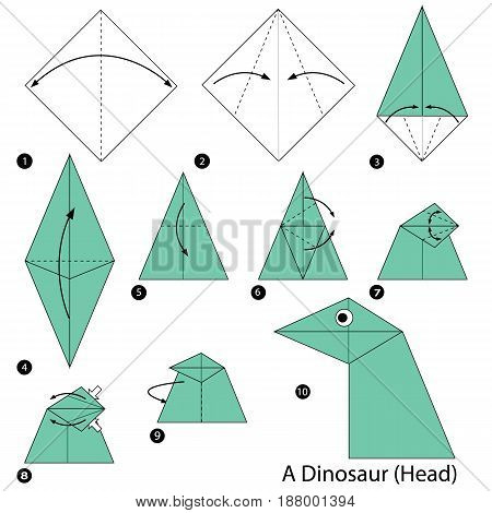 step by step instructions how to make origami A Dinosaur (Head).