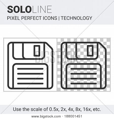 Pixel perfect solo line floppy disk icon on white and transparent background for responsive web or product design. Designed for use by technology companies and startups in their products