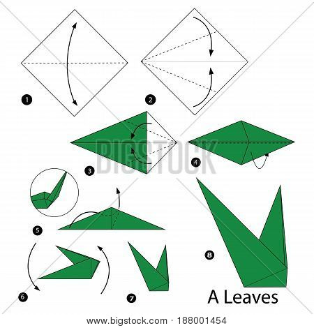 step by step instructions how to make origami A Leaves.