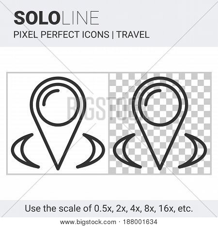 Pixel perfect solo line map pointer icon on white and transparent background for responsive web or product design. Can be used in web sites and apps for travel map and navigation