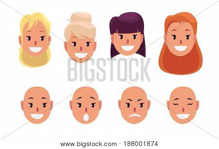 Woman pretty faces with different hairstyles and emotions. Avatar. Vector illustration.