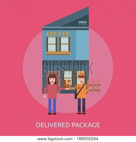 Delivered Package Conceptual Design | Great flat illustration concept icon and use for cargo, delivery, transportation, business and much more