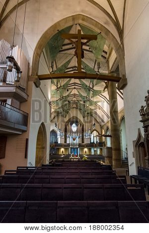 STUTTGART GERMANY - MARCH 01 2017: Interior of the Stiftskirche (Collegiate Church) - main church of the Evangelical-Lutheran Church in Wuerttemberg.