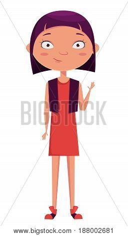 Cute girl waving. Funny cartoon character. Vector illustration.