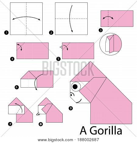 Step by step instructions how to make origami A Gorilla.