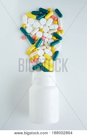 Blister Tablets. The Capsules Are Packaged In Blisters, Isolated On A White Background. Disease. Flu