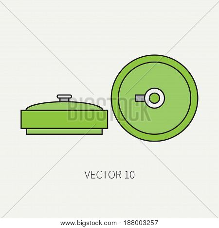 Line flat color vector military icon - anti-tank mine. Army equipment and weapons. Cartoon style. Assault. Soldiers. Armament. Ammunition. Vector illustration and element for your design , wallpaper.