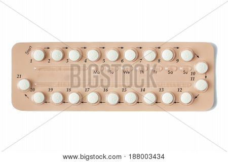 Colorful Oral Contraceptive Pill Strips Isolated On White Background With Clipping Path. Birth Contr