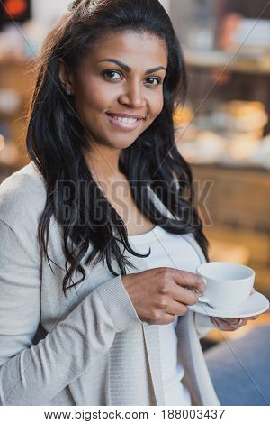 Young African American Woman Drinking Coffee At Home, Breakfast