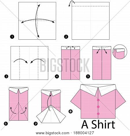 Step by step instructions how to make origami Shirt.