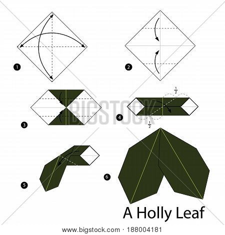 Step by step instructions how to make origami A Holly Leaf.