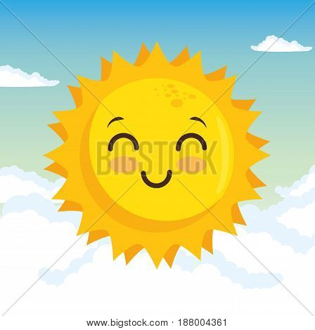Happy sun and clouds over blue background Vector illustration.