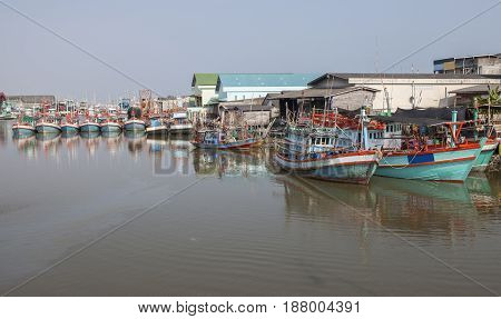 fishery boat of rayong river eastern of thailand