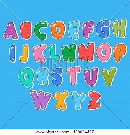 Children's cartoon ABC for your design. Vector illustration.