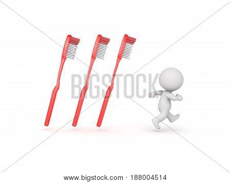 3D Character running away from tooth brushes. Image could convey the fear of dentists.