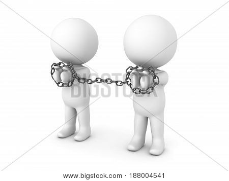 3D Characters being tied to each other with chains. Image depicting convicts prisoner or detainees or slaves.
