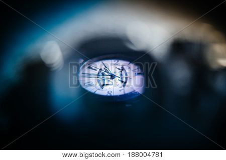 BASEL SWITZERLAND - APR 28 2017: View through camera electronic viewfinder of a luxury Zenith watch during the photography advertising campaign shooting