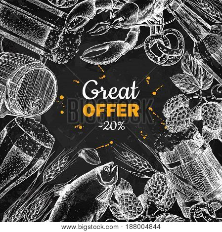 Beer vector chalkboard discount banner. Alcohol beverage hand drawn special offer. Beer glass, mug, wooden mug, bottle, barrel, snack, hop, wheat, fish, crayfish. Great for bar pub menu oktoberfest